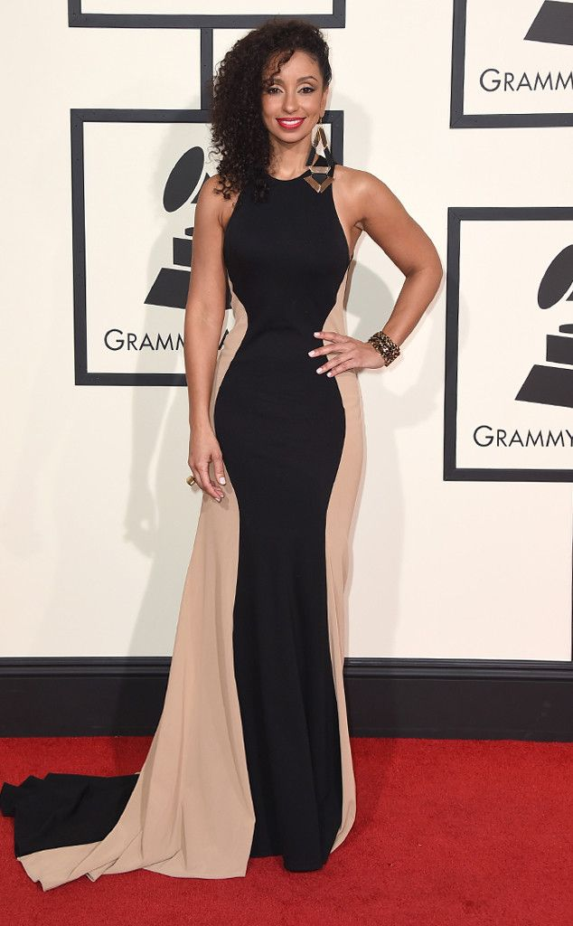 Mya from Grammys 2016: Red Carpet Arrivals| idk why but i love this colour block dress