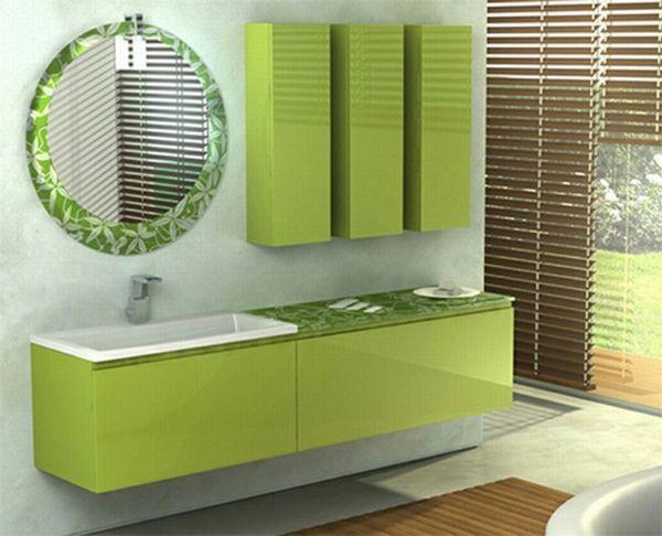 grüne-möbel-im-badezimmer - jalousien - 30 super Ideen für kreative Badezimmergestaltung