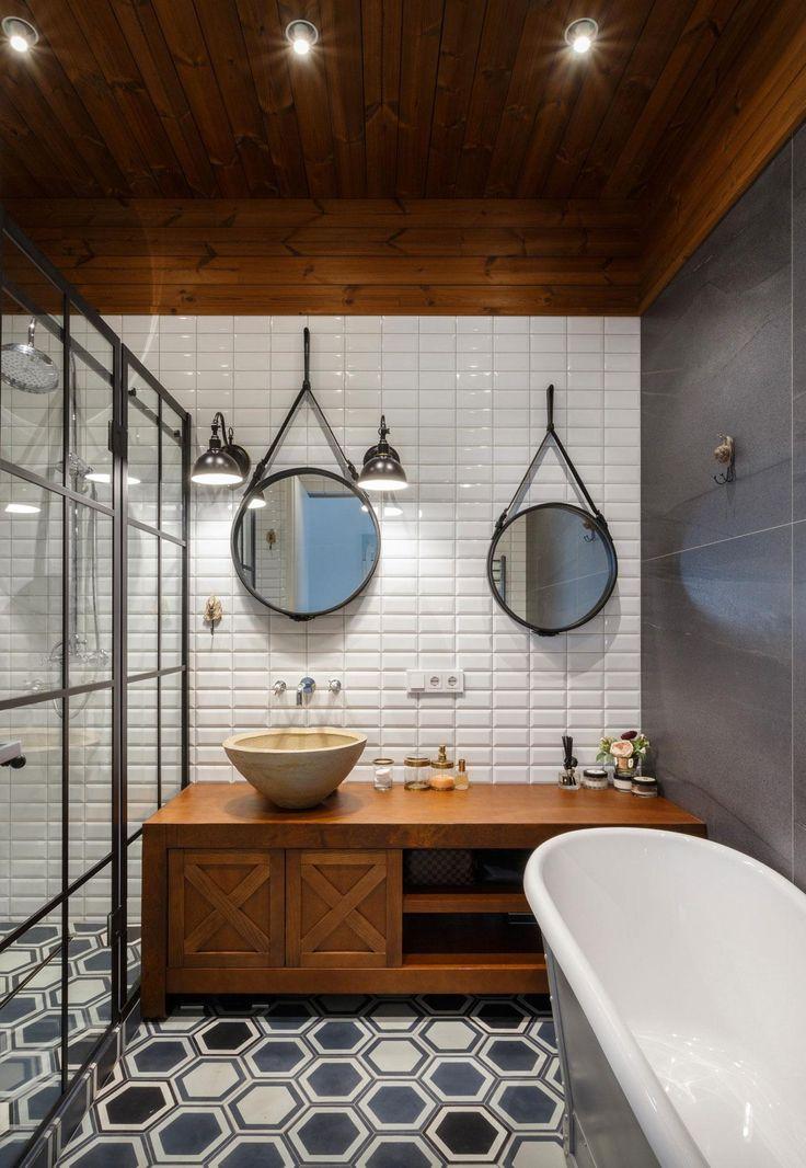 Metrócsempe és látványos padlóburkolat a fürdőben - fürdő / WC ötletek, modern stílusban