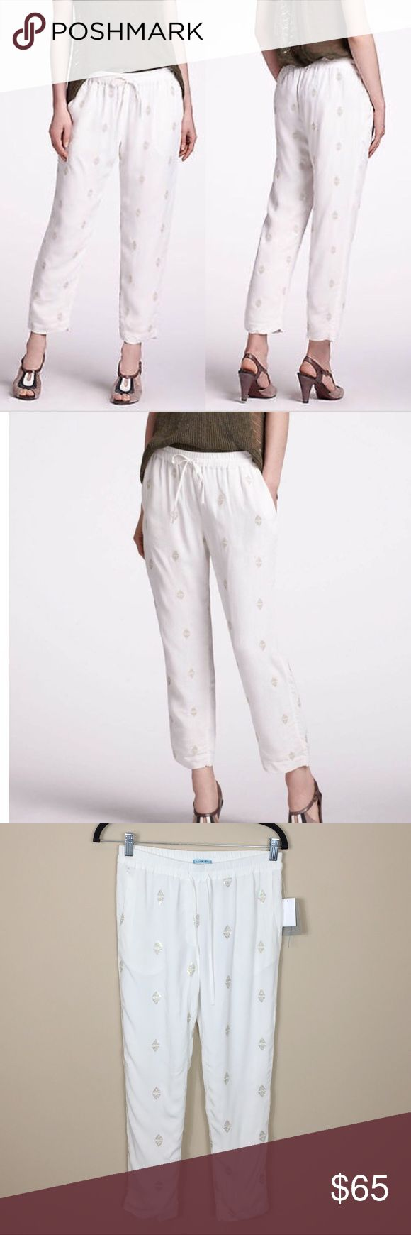 Anthropologie Leifnotes Ivory Sequin Jogger Pants NWT. Anthropologie Leifnotes Ivory Sequin Jogger Pants. Pointed Cressida pants. Ivory. Size 0. So cute! No modeling/trades. Anthropologie Pants Track Pants & Joggers