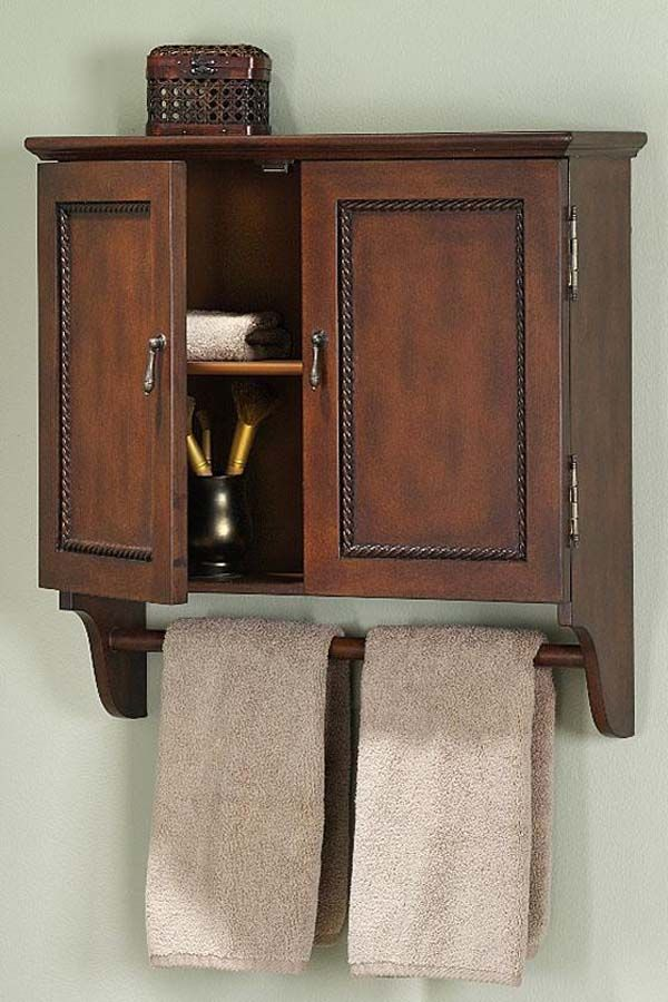 Best Bathroom Storage Cabinet Images On Pinterest Bathroom - Bathroom wall shelf with towel bar for bathroom decor ideas