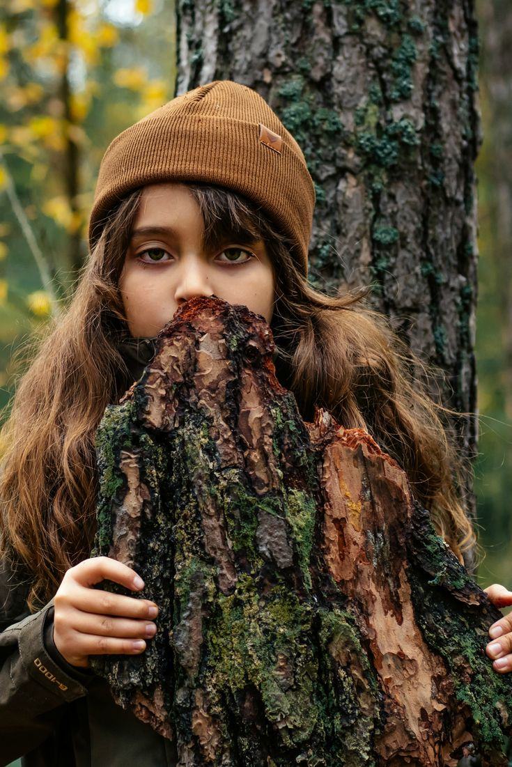Outdoor adventure outfit for kids. Brown wool beanie. Hiking with kids. Nature photography, simple living inspiration.