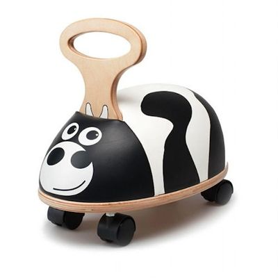 A sturdy wooden ride-on cow from Skipper. Ideal for young children this great little ride on comes with a memory foam wipe clean seat, four castor wheels giving balance and an ergonomic wooden handle to keep your toddler sitting upright. The recommended age is from 10 months which can give non-walkers a sense of freedom and those already on the move the speed they crave!