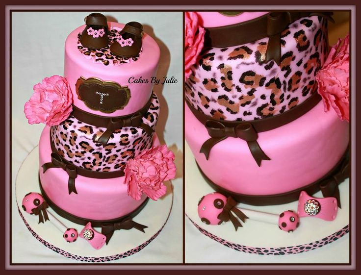Pink And Brown Leopard Baby Shower Cake