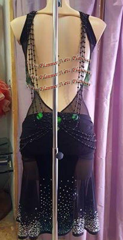 L915 Ballroom Latin Rhythm Salsa Rumba Samba Dance dress US 6 beading