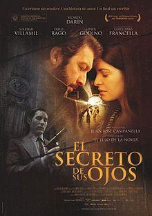 The Secret in Their Eyes: El secreto de sus ojos is a 2009 Argentine crime thriller film, directed by Juan José Campanella, based on Eduardo Sacheri's novel La Pregunta de Sus Ojos (The Question in Their Eyes).