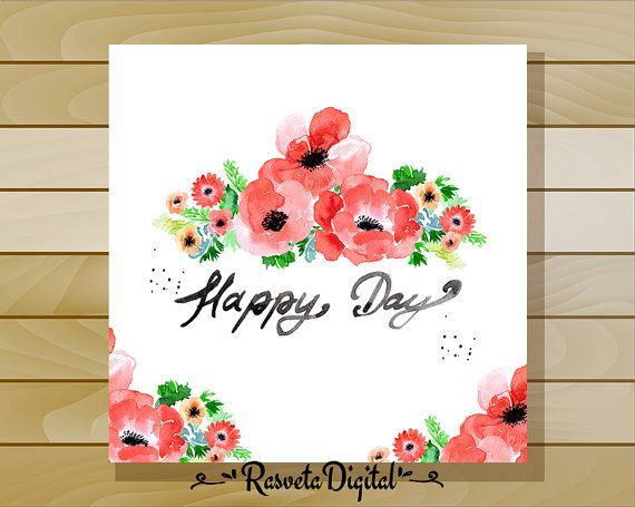 Floral watercolor background anemone/Garden flowers anemone/Wedding invitation clip art / commercial use