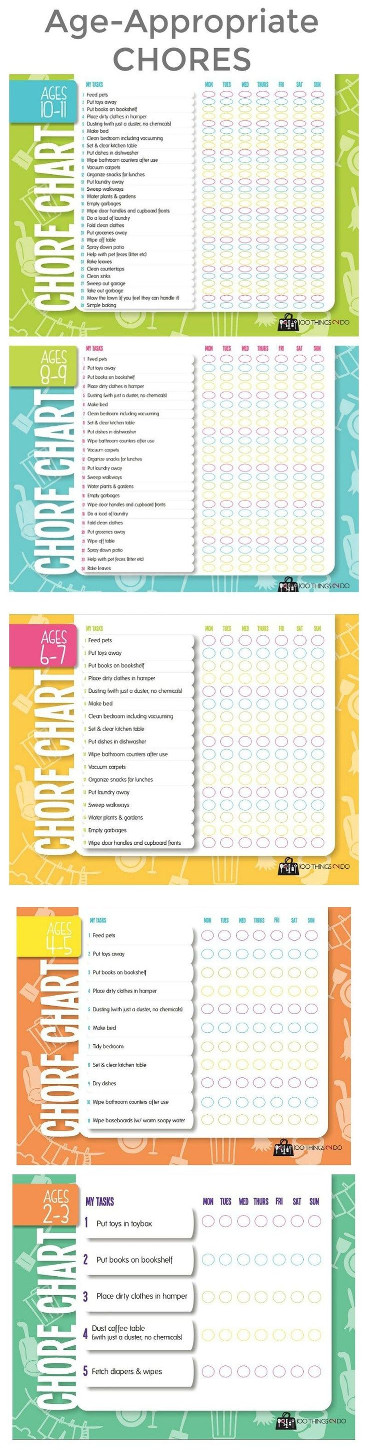 childrens chore list printable