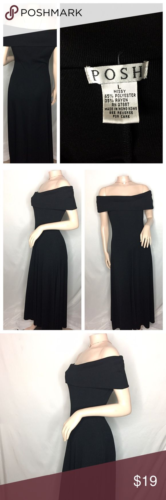 Amazing and beautiful black Posh dress Amazing and beautiful black Posh dress size L no imperfections long dress. Does have a  little weight to it but keeps you warm in the winter. Form fitting posh Dresses
