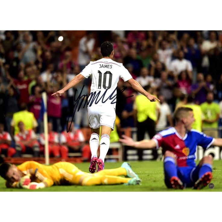 James Rodriguez Signed Real Madrid Back View Celebration 12x16 Photo: Deportivo Goal ( Icons Auth & Third Party Holo)