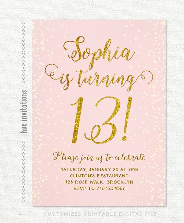 13th birthday invitation for girl, pink gold teen birthday party invitations, blush pink gold glitter, rustic chic shabby confetti printable by hueinvitations on Etsy https://www.etsy.com/listing/259359366/13th-birthday-invitation-for-girl-pink