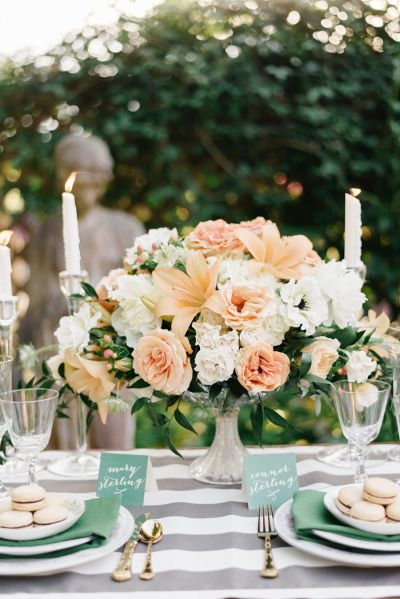 Gray stripes, emerald green details and peach florals: http://www.stylemepretty.com/washington-weddings/bellingham/2014/12/03/french-elegance-wedding-inspiration/ | Photography: Joe and Patience - http://joeandpatience.com/
