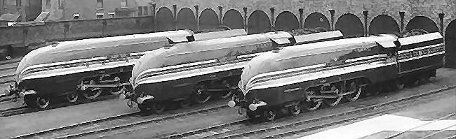 A line up of three Princess Coronation class Pacifics at Crewe Works in 1937.
