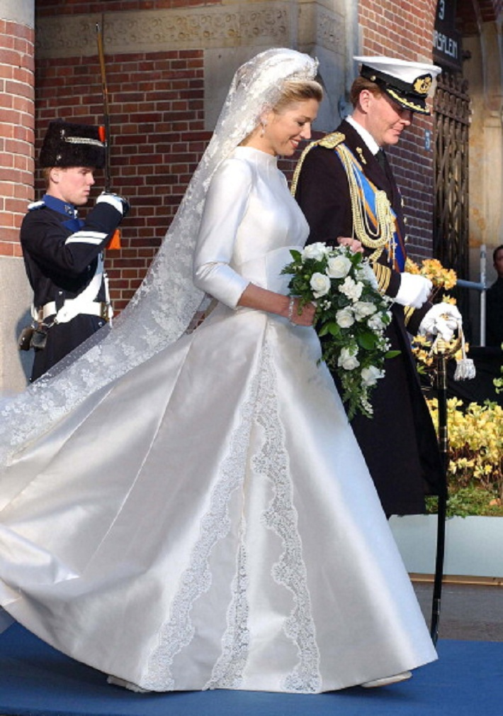 Princess Modest Wedding Dress HRH Crown Prince Willem Alexander Of The Netherlands Now HM King To Miss Maxima