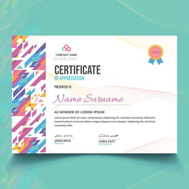 شهادة الإبداعية الحديثة قالب جائزة التقدير Award Template Certificate Of Appreciation Company Names