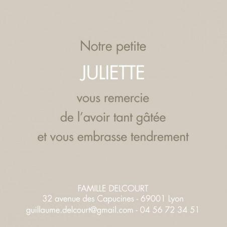 Carte de remerciement (thank you card): Merci classique - by Sibylle Derkenne pour http://www.fairepartnaissance.fr #naissance #remerciement #birth