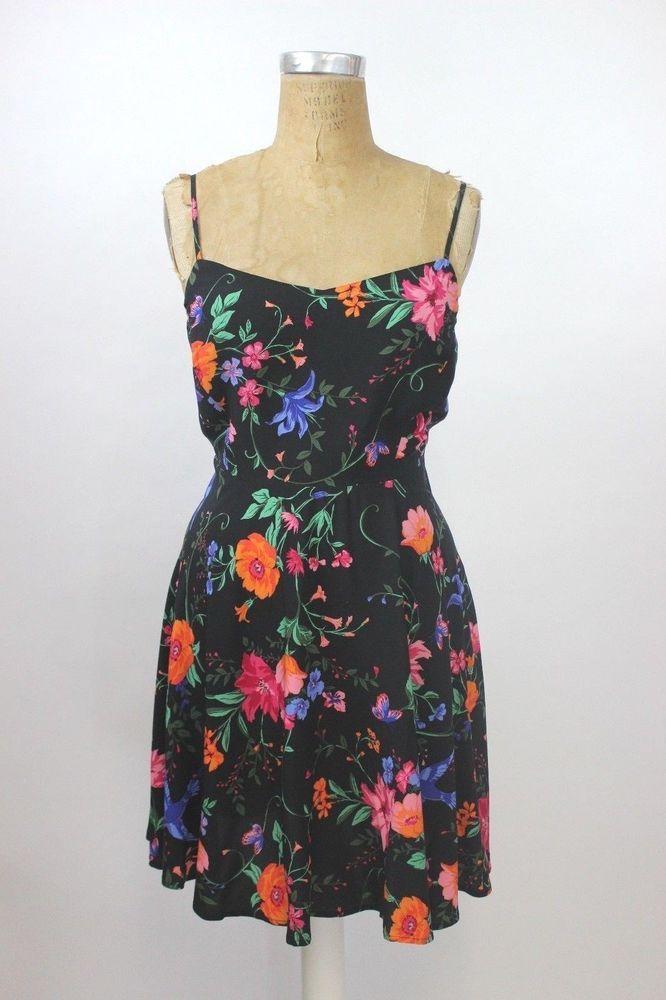 NEW $30 OLD NAVY Black Floral Fit & Flare Cami Skater Sun Dress LARGE XL XXL 2XL #OldNavy #SkaterDress