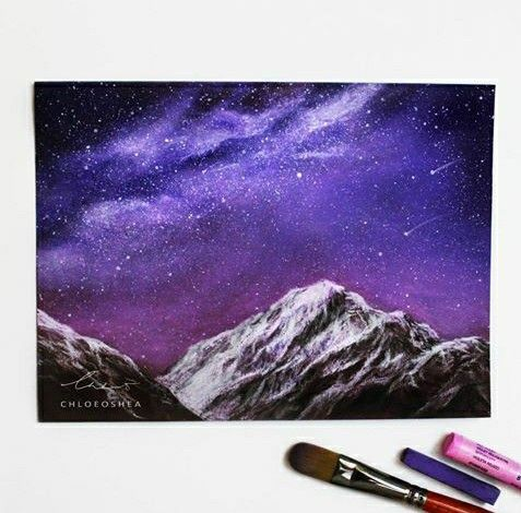 Use white chalk pencils for mountains?