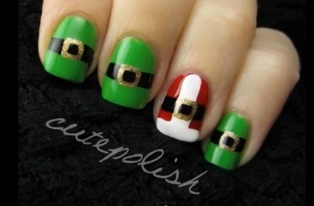 Santa and Elf Suit Nails