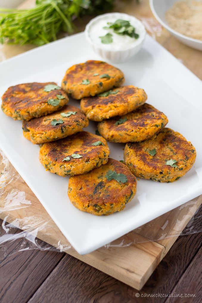 Sweet Potato Cakes - soft in the middle and crispy yum on the outside | canuckcuisine.com