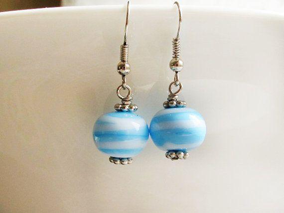 Sky Blue White Lampwork Earrings Glass Bead by GlassHouseLampwork
