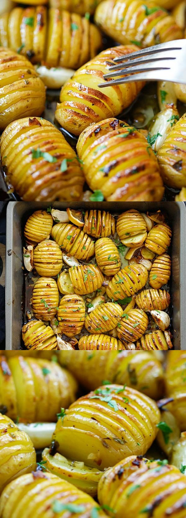 Lemon Herb Roasted Potatoes - BEST roasted potatoes you'll ever make, loaded with butter, lemon, garlic and herb. 15 mins active time!