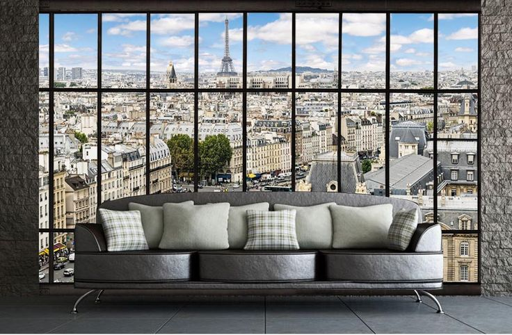 poster xxl vue panoramique sur paris trompe l 39 oeil vue. Black Bedroom Furniture Sets. Home Design Ideas