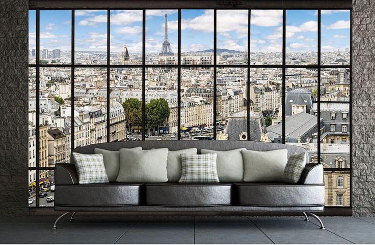 poster xxl vue panoramique sur paris trompe l 39 oeil vue. Black Bedroom Furniture Sets. Home Design Ideas