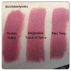 revlon matte balm in sultry, maybelline creamy matte lipstick in touch of spice + mac satin lipstick in twig