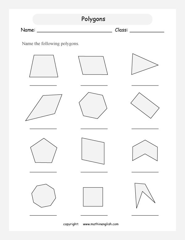 Names of Polygons | Name regular and irregular polygons. Count the sides and angles.