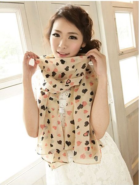 Double Color Love Hearts Chiffon Scarves 3 colour available FREE shipping worldwide only 6.99usd