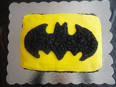 Easy Batman Cake. I guess I have to make this for my oldest son, now!