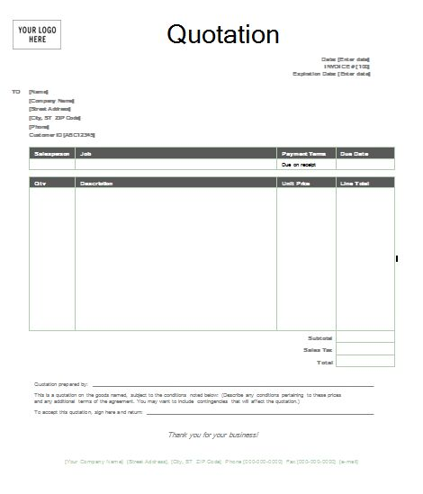business quotation sample hitecauto - sample invoice quotation
