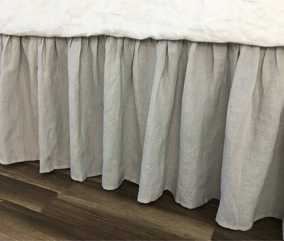 Stone Grey Bed Skirt Handmade In Natural Linen Grey Gathered Bed Skirt Grey Bed Ruffles Grey Dust Ruffles Bed Skirts Grey Bedding Grey Bedding Bedskirt Linen Bedskirt