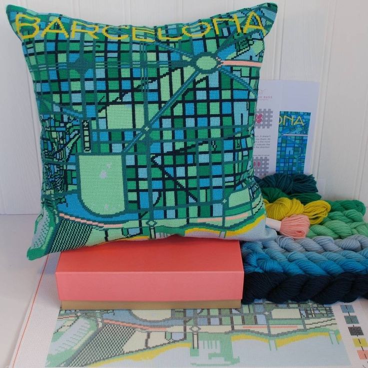 Contemporary Barcelona City Map Tapestry Kit