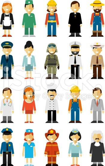 People occupation set in flat style isolated on white background royalty-free stock vector art