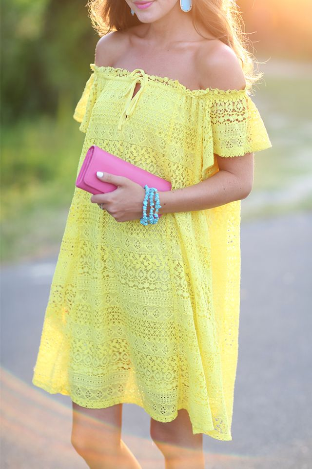 Yellow lace dress for summer