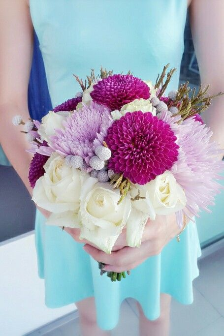 Chrysanthemum, roses, silver brunia hand bouquet