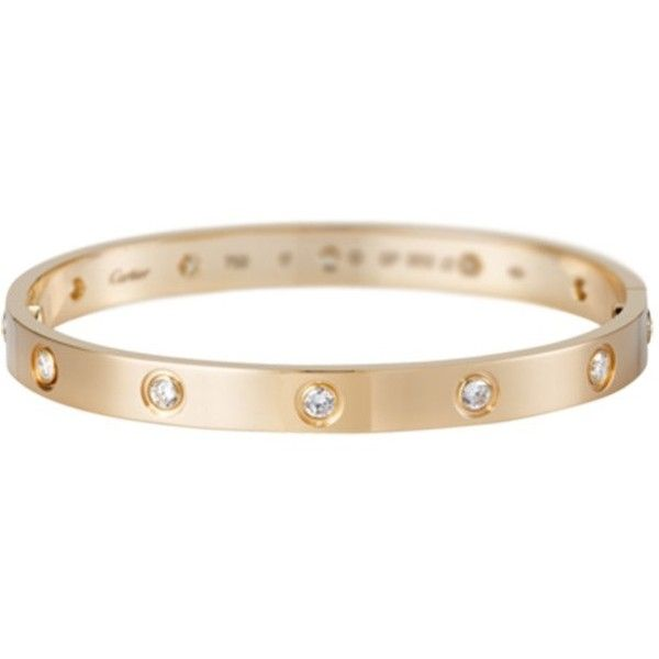 Cartier Pre-owned Cartier Love Bracelet R/G Full Dia Size 16 found on Polyvore featuring jewelry, bracelets, accessories, gold, 18 karat gold bracelet, preowned jewelry, 18k bangle, cartier bangle and cartier jewellery