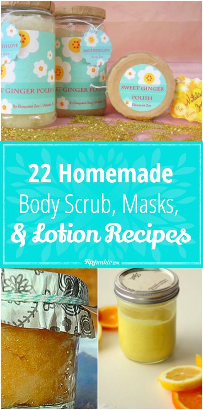 22 Homemade Body Scrub, Masks, and Lotion Recipes via @TipJunkie