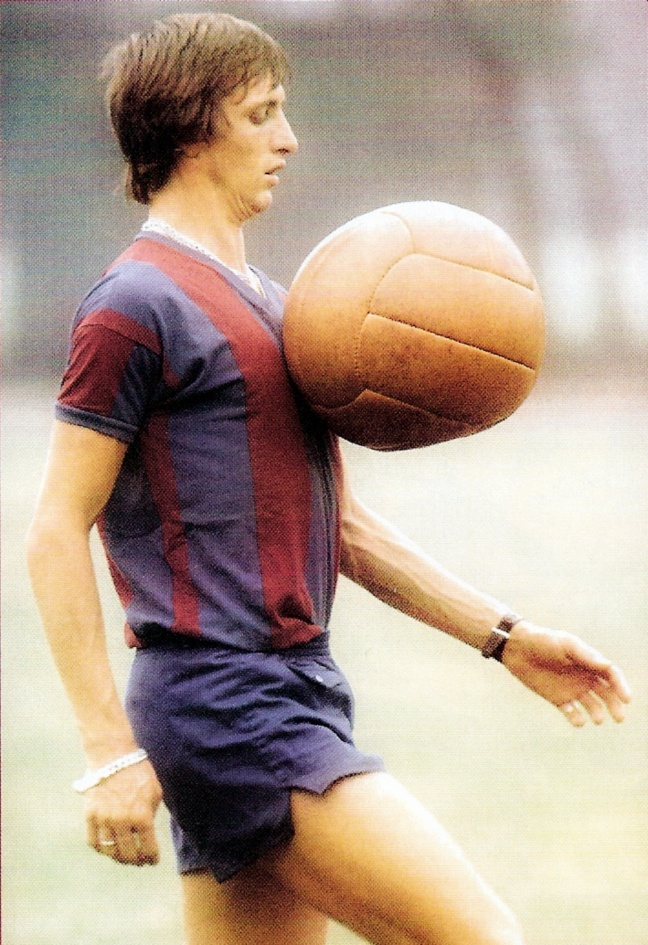 Johan Cruyff, born 25 April 1947, Dutch attacking midfielder or forward, Ajax (1964-1973), FC Barcelona (1973-1978), Los Angeles Aztecs (1979-1980), Was
