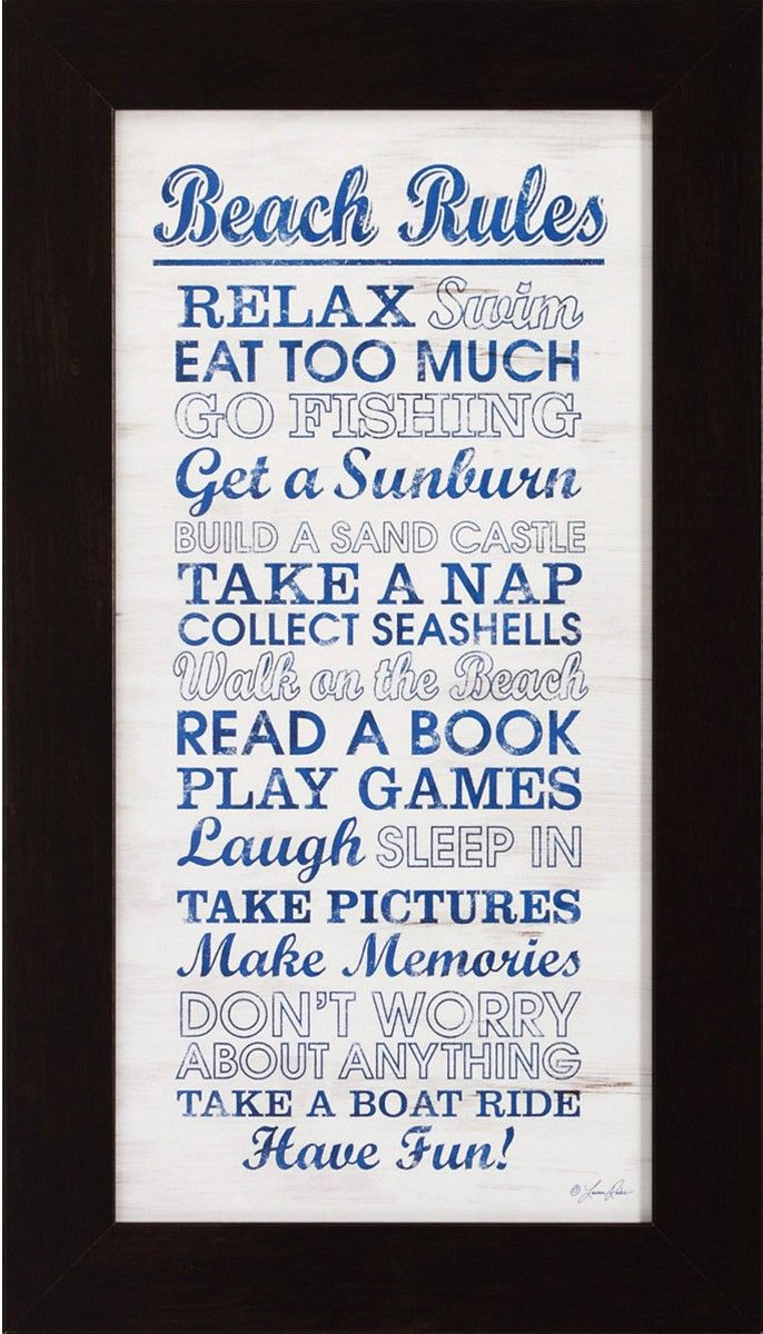 Beach Rules Framed Picture.