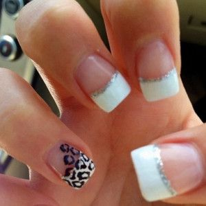 French tip with leopard<3