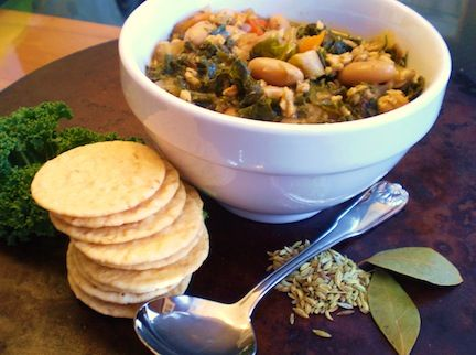 White Bean and Kale Stew with Fennel and Vegan Sausage