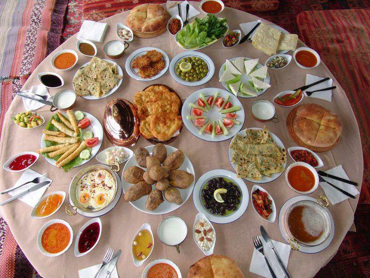 A Turkish breakfast table..