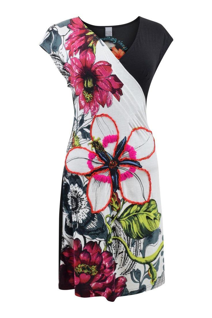 Trademark Desigual from Spain, this colourful cotton summer dress has a tropical vibe. Floral pattern is accentuated with bright fuchsia and red yarn detail. A-line dress with faux crossover wrap seam detail. Throw on with a pair of wedges or flip- flops for a great summer look.   Desigual Floral Dress by DESIGUAL. Clothing - Dresses Canada