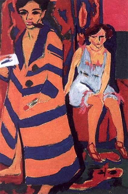 Painting by Ernst Ludwig Kirchner (1880-1938), 1910, Self Portrait with Model. #German_Expressionist