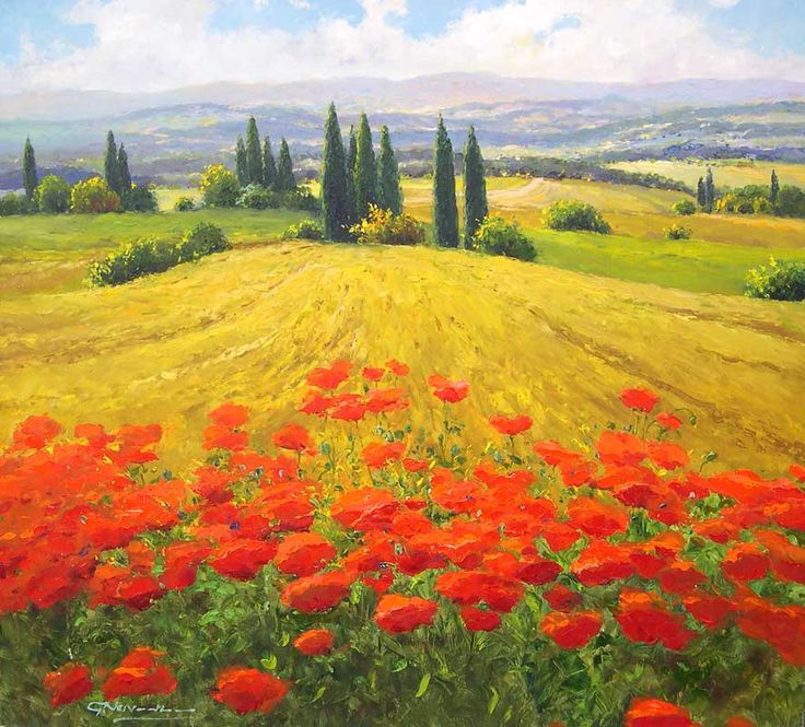 Gerhard Nesvadba - Wheatfield and Poppies (895x800)