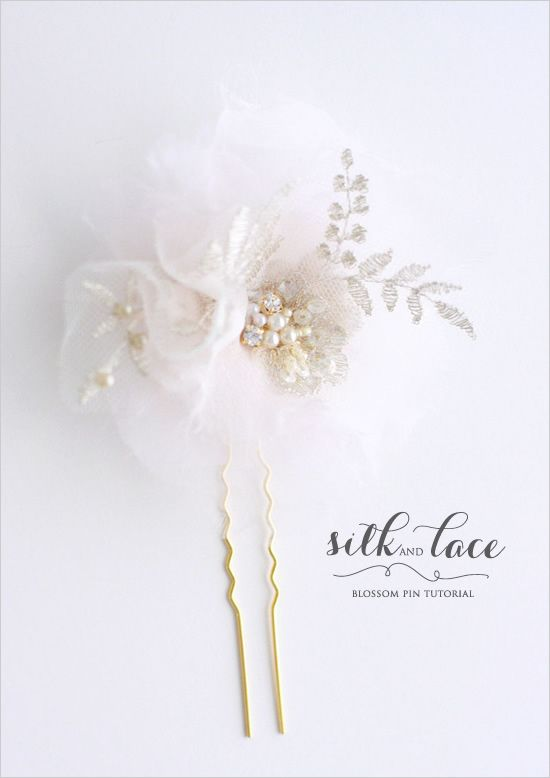 DIY silk and lace blossom hairpin tutorial by Myra of Twigs & Honey for Wedding Chicks