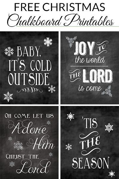 20 Free Christmas Chalkboard Printables round-up from Pinterest.